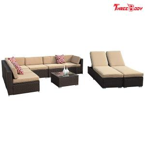 China Brown Wicker Outdoor Patio Sectional Sofa Set , Modern Patio Furniture Beige Seat Lounge Chair on sale