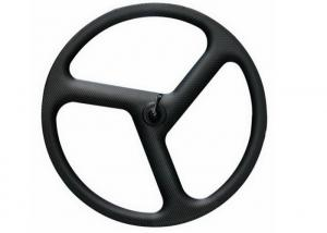 China Black Matte 11 Speed Carbon Cycling Wheels, Carbon Tri Spoke Bicycle Wheels on sale