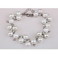 White Diamond Costume Pearl Bracelets With Extender Chain Customized Size