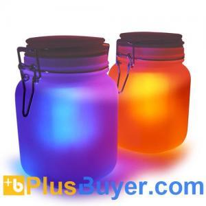 China Moon Jar - Solar Power LED Mood Light (Amber/Blue, Waterproof) on sale