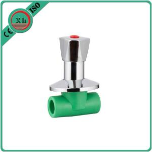 China Ppr Plastic Water Shut Off Valve Polypropylene Random Base Brass Element on sale