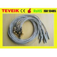 Grey Color DIN1.5 socket EEG cup cable, Ear-clip electrode eeg cable Gold plated copper