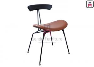 China Industrial Style Metal Restaurant Chairs Brown Leather Wires In Loft Retro Look on sale
