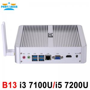 China Partaker B13 Fanless Desktop Computer Mini PC I3 7100U I5 7200U Windows 10 Max 16G RAM 512G SSD 1TB HDD Free 300M WiFi on sale
