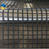 China High tensile strength polyester geogrid coating with PVC for road construction on sale