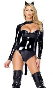 China Feline Fetish Sexy Black Cat Costume Wholesale with Size S to XXL Available on sale