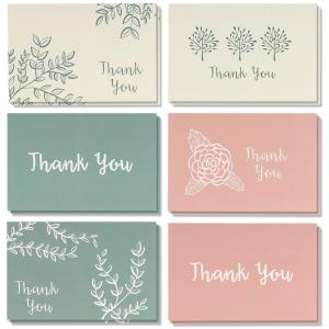 China 6 Kinds Floral Designs Thanks Greeting Card Various Inner Paper Available on sale