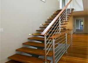 China Indoor Design Stairs Glass Straight exterior wood stairs with tempered glass railing on sale