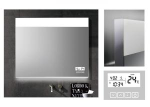 China Customized LED Illuminated Demister Bathroom Mirror With Clock and calendar on sale