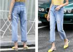 Straight Leg Light Wash Cotton Stretch Ladies Denim Jeans With Rips