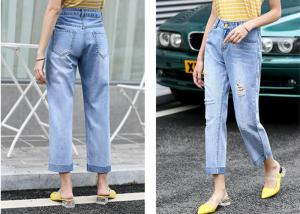 China Straight Leg Light Wash Denim Jeans With Rips Cotton Strench Denim Pants on sale