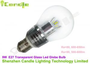 China Warm White Dim E27 Led Bulb Globe 9watt Transparent Glass With Epistar Chip on sale