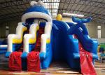 Giant Adults Commercial Inflatable Blue Sea Waves Whale Water Slide And Pool with Ladder