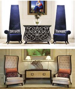China Customized High End Hotel Lobby Furniture Wooden Sofa Chair Modern Console Table on sale