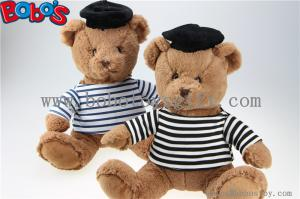 China Navy Teddy Bear Plush Gift Soft Bear Toys with Sailor's Striped Shirt and Black Cap on sale