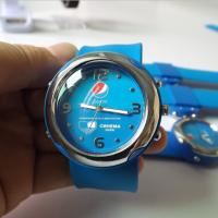 Custom Logo Blue Snap Silicone Slap Watch Removeable Watch Face