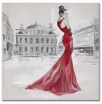 100% high quality hand-painted oil painting on canvas red dressing lady size in 60X60CM