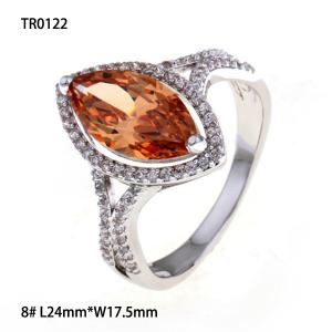 China OLF Shiny Luxury Platinum Plated 925 Sterling Silver Engagement Oval Citrine Ring on sale