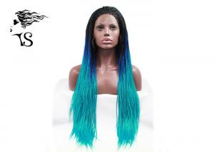 China Blue Ombre Syntheticlace Front Box Braids , Colored Long African Braided Hair Wig on sale