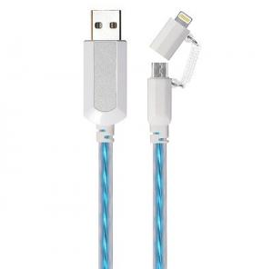 China 2 in 1 EL Visible 8 Pin Lightning To Micro USB Flowing Flat Cable LDF003 on sale