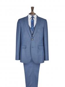 China Blue Sharkskin Mens Tuxedo Slim Suit , Match Flat Front Styling Trouser on sale