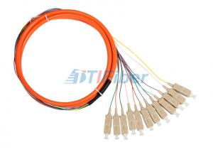 China OM2 50um Fiber Optical Pigtail , Simplex Duplex 12 cores Fiber Pigtail on sale