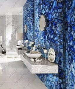 China Grade A luxury wall panels Blue Semi-precious Agate Stone Slabs for Hotel on sale