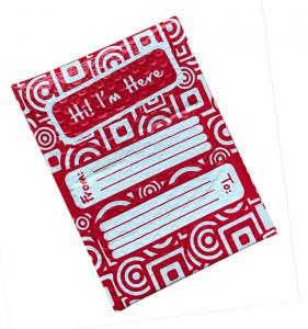 China Full Printing Red Poly Bubble Envelope Mailer 6x10 Hot Melt Adhesive Glue on sale