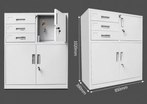 China White Metal Vertical File Cabinets , A4 Metal Filing Cabinet 3 Drawer Mobile Pedestal on sale