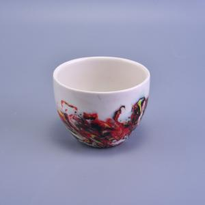 China Bowl Shape Handmade Ceramic Candle Holders , Ceramic Votive Holders For Candle on sale