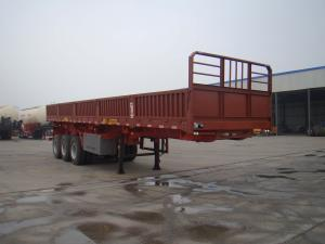 China White 3 Axle Fenced Cargo Trailer , Side Wall Trailer For Bulk Cargo Transportation on sale