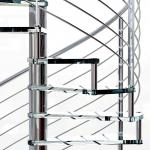 Small Space House Used Stainless Steel Glass Spiral Staircase with 12mm Glass Railing