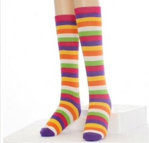 China Personalized Stockings, Bright Rainbow Colors Cotton Striped Knee High Socks For Girls on sale