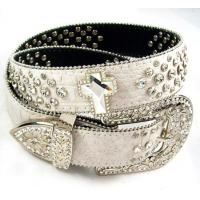 China cocro pu leather waist belt for women with bling rhinestone on sale