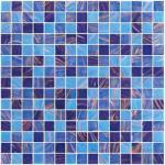 Bleu de mer avec la ligne tuile d'or de mosaïque en verre de piscine de modèle de mélange de mosaïque
