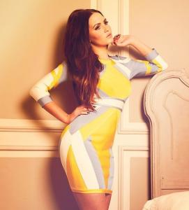 China 3/4 sleeve yellow,blue and white colorblocked backless bandage dress on sale