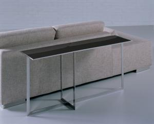Quality Black Glass Top Side Table , Metal Rectangle Glass Coffee Table , Black glass for sale