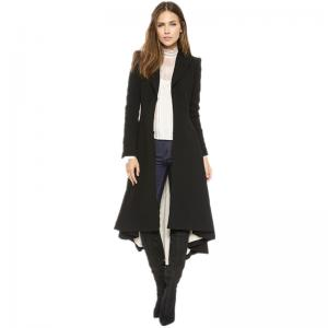 China Autumn Winter Women Swallowtail Woolen Long Black Trench Dovetail Slim Blazer Dress 4XL 5XL Plus Size Goth Trench Outwea on sale