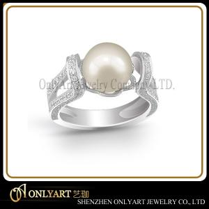 China comfort fit and rhodium plated nickel free natural pearl 925 sterling silver ring on sale