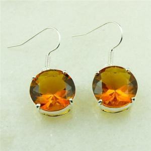 China Wholesale ROUND BRAZIL CITRINE GEMSTONE 925 silver earrings FREE HE0039 on sale