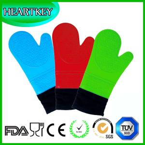 China Grilling Baking Extra Long Heat Resistant Oven Gloves with Deluxe Padded Cotton Liner on sale