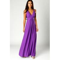 Purple Summer Sexy Deep V Neck Womens Maxi Dresses For Wedding Party