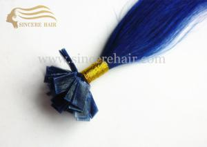 China 22 Bule Color Silk Straight Remy Hair Extensions Pre-Bonded Flat-Tip Hair 1.0 Gram For Sale on sale