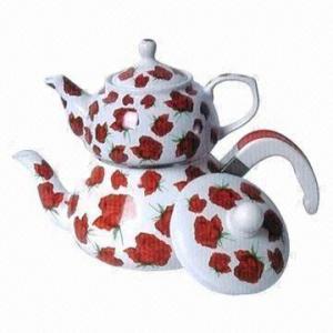 China Enamel Teapot Set, 0.9L Porcelain Pot Upper and 2.4L Enamel Pot Bottom, 1.3kg/Set Weight on sale