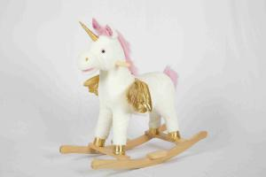 China White Toddler Wooden Toys Rocking Horse Unicorn For High Rack Stuffed Animal Seat on sale