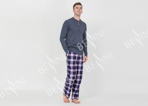 China Trendy Mens Jersey Pyjamas Long Sleeves Tee And Woven Yarn Dyed Flannel Long Pants on sale