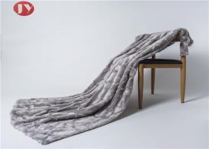 China Luxury Gray Stone Embossed Plush Fur Blanket Animal Fur Winter Harmless Super Soft on sale