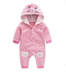 China Spring New Style Hooded Infant Baby Rompers Long Sleeve With Lovely Animal Cat on sale
