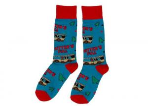 China Unisex Jacquard Custom Ugly Christmas Socks Blue Cute Knitted Adult Size on sale