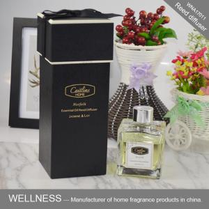 China Luxury Scented Home Reed Diffuser Essential Oil Fragrance In Transparent Bottle on sale